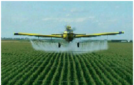 Crop duster spraying toxic chemical pesticides.